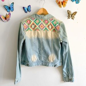 New Embroidered Jean Jacket Small White Crow
